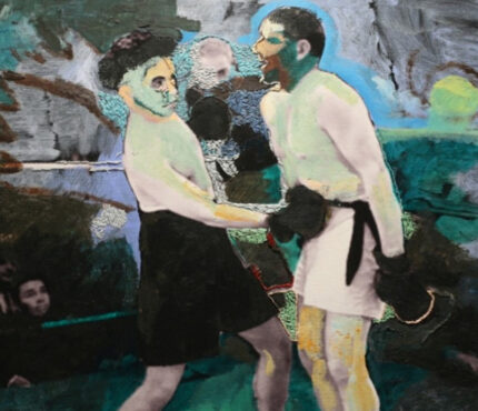 03_Boxing-match-(movie_City-Lights),-embroidery-over-photography-printed-on-canvas--fair-use,-40x50cm_2012