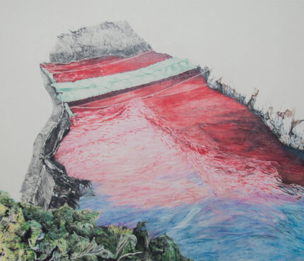 5--The-red-cove,-color-pencils,-watercolor-pencils-and-pencil-on-paper,-58x70-cm,-2019